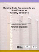 Building Code Requirements and Specification for Masonry Structures PDF