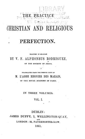 The Practice of Christian and Religious Perfection PDF
