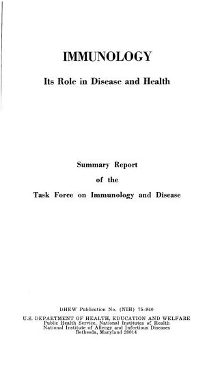 Immunology  Its Role in Disease and Health PDF
