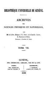 Archives des sciences physiques et naturelles: Volume7
