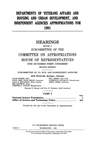 Departments of Veterans Affairs and Housing and Urban Development  and Independent Agencies Appropriations for 1991