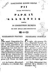 Sanctissimi Domini Nostri Pii divina providentia papae 9. allocutio habita in consistorio secreto die 29 aprilis anno 1848