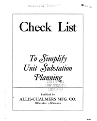 Check List to Simplify Unit Substation Planning