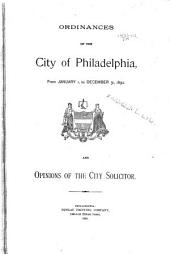 Ordinances and Opinions of the City Solicitor