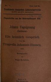 Ein heimlich gespräch von der tragedia Johannis Hussen. 1538