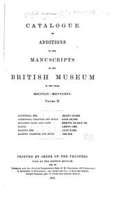 Catalogue of Additions to the Manuscripts in the British Museum in the Years ...: Volume 2