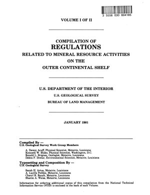 Compilation of Regulations Related to Mineral Resource Activities on OCS  Outer Continental Shelf   PDF