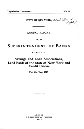 Annual Report ... Relative to Savings and Loan Associations ...