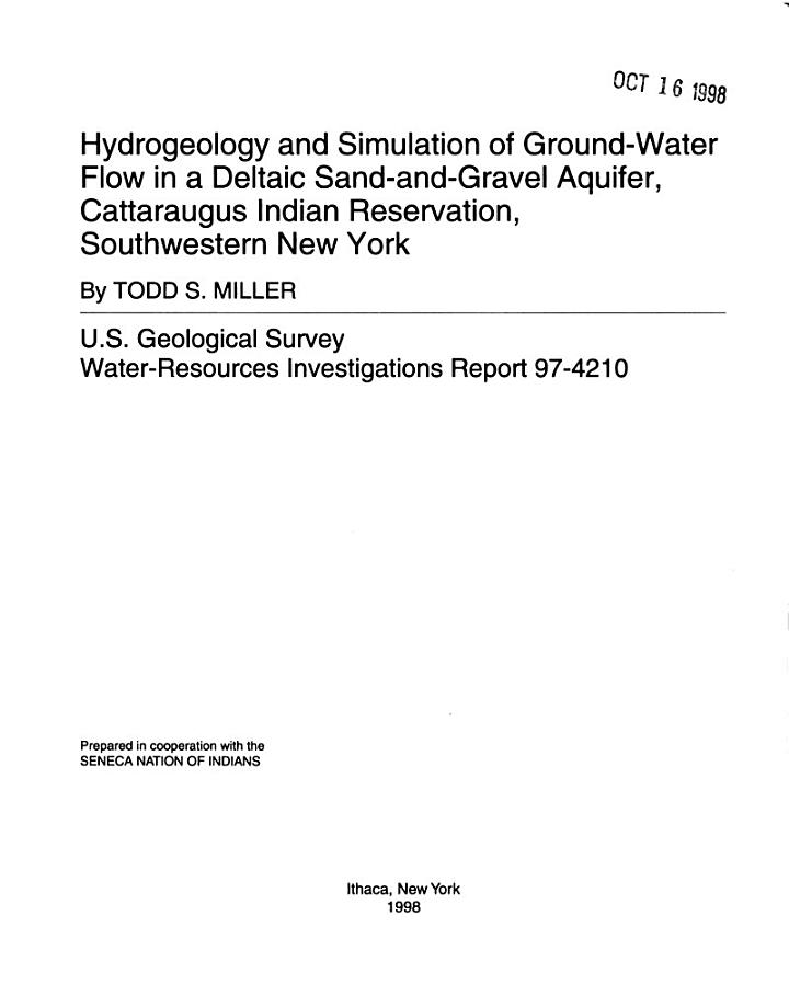 Hydrogeology and Simulation of Ground-water Flow in a Deltaic Sand-and-gravel Aquifer, Cattaraugus Indian Reservation, Southwestern New York