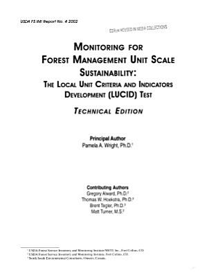 Monitoring for Forest Management Unit Scale Sustainability PDF