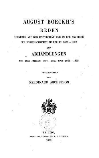 August Boeckhs gesammelte kleine Schriften August Boeckh PDF