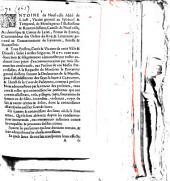 Ordonnance d'Antoine de Neufville, abbé de St Just, Vicaire général au spirituel et temporel de Camille de Neufville, archevêque de Lyon, sur l'ouverture des Grands Jours à Clermont. Donnée à Lyon, le 19 septembre 1665