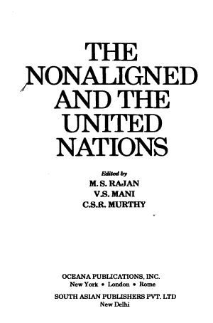 The Nonaligned and the United Nations PDF