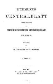 Psychiatrisches Centralblatt: Band 1
