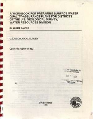 A Workbook for Preparing Surface Water Quality assurance Plans for Districts of the U S  Geological Survey  Water Resources Division