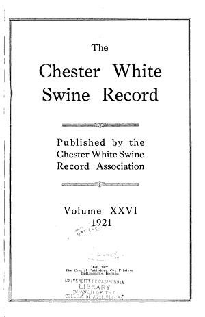 The Chester White Swine Record