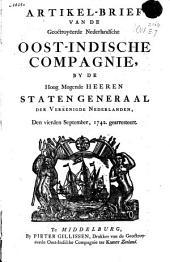 Artikel-brief van de geoctroyëerde Nederlandsche Oost-Indische Compagnie, by de [...] Staten Generaal [...] den vierden september, 1742. gearresteert