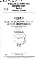 Investigation of Students for a Democratic Society  Hearings     PDF