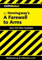 CliffsNotes on Hemingway s A Farewell to Arms PDF