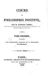 Cours de philosophie positive: Volume 1