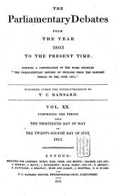 The Parliamentary Debates from the Year 1803 to the Present Time: Volume 21