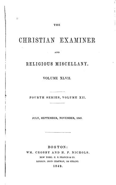 Download The Christian Examiner and Religious Miscellany Book