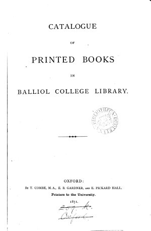 Catalogue of printed books in Balliol college library  by J  Rathbone