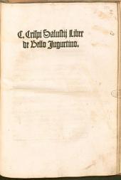 C. Crispi Salustii liber De bello Iugurtino