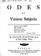 Odes on various subjects