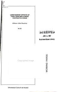 Labor Market Effects of Fixed term Employment Contracts in Spain PDF