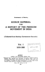 Source Material for a History of the Freedom Movement in India  1818 1885 PDF
