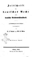 Zeitschrift fur deutsches Recht und deutsche Rechtswissenschaft PDF
