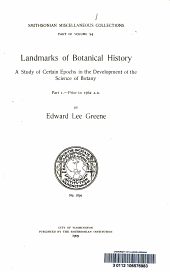 Landmarks of botanical history: a study of certain epochs in the development of the science of botany, Volume 54