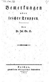 Sammlungen Über leichte Truppen von Fr. Jos. Gr. D. - Kaschau, Ellinger. 1820