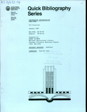 Groundwater Contamination  1983 1986 PDF