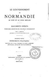 Le gouvernement de Normandie au XVIIe et au XVIIIe siècle