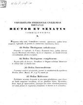 Iudicia quinque ordinum Universitatis Fridericiae Guilelmiae Rhenanae de litterarum certaminibus anni ... facta novaeque quaestiones anno ... propositae: 1842