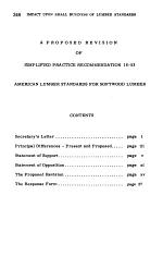 The Impact Upon Small Business of U. S. Softwood Lumber Standards