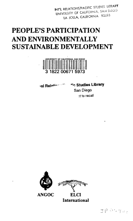 People s Participation and Environmentally Sustainable Development PDF