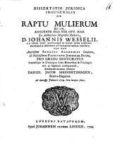 Dissertatio juridica inauguralis de raptu mulierum