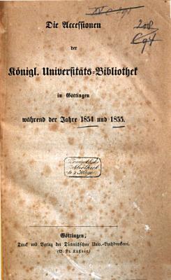 Accessionen der K  niglichen Universit  ts Bibliothek in G  ttingen  w  hrend der Jahre      PDF