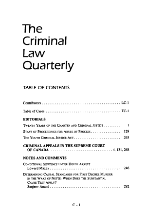 The criminal law quaterly