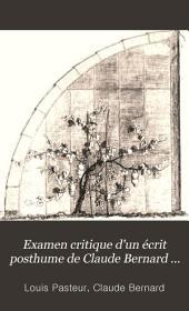 Examen critique d'un écrit posthume de Claude Bernard sur la fermentation