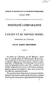 Fertilité comparative de l'ancien et du nouveau monde: extrait du bulletin de la société de géographie