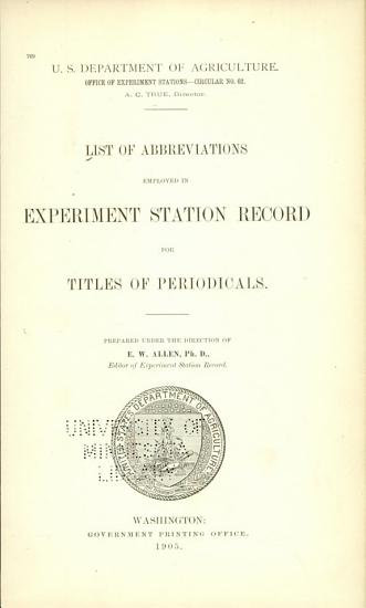 List of Abbreviations Employed in Experiment Station Record for Titles of Periodicals PDF