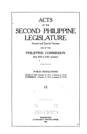 Acts of First- Philippine Legislature: Issues 2076-2187