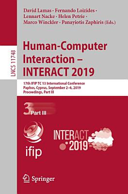 Human Computer Interaction     INTERACT 2019 PDF