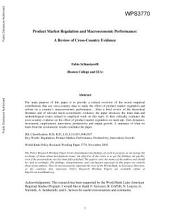 Product Market Regulation and Macroeconomic Performance: A Review of Cross-country Evidence