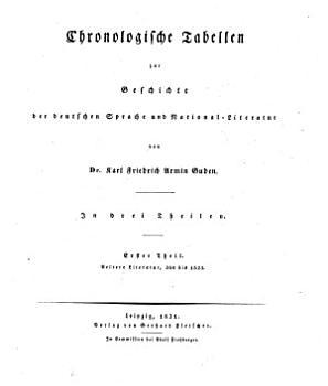 Chronologische Tabellen zur Geschichte der deutschen Sprache und National Literatur PDF