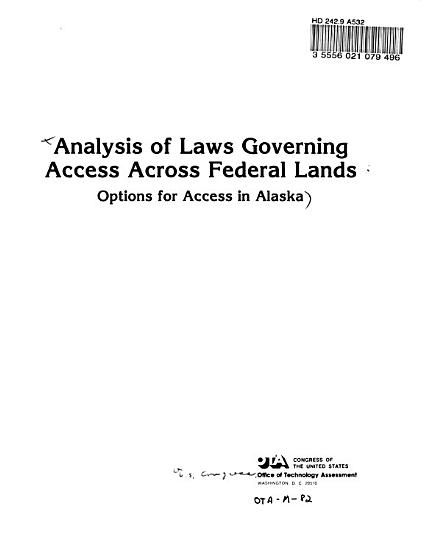 Analysis of Laws Governing Access Across Federal Lands PDF